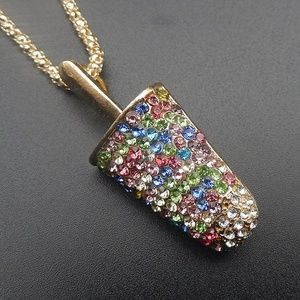 Betsey Johnson Ice Cream Popsicle Brooch Necklace